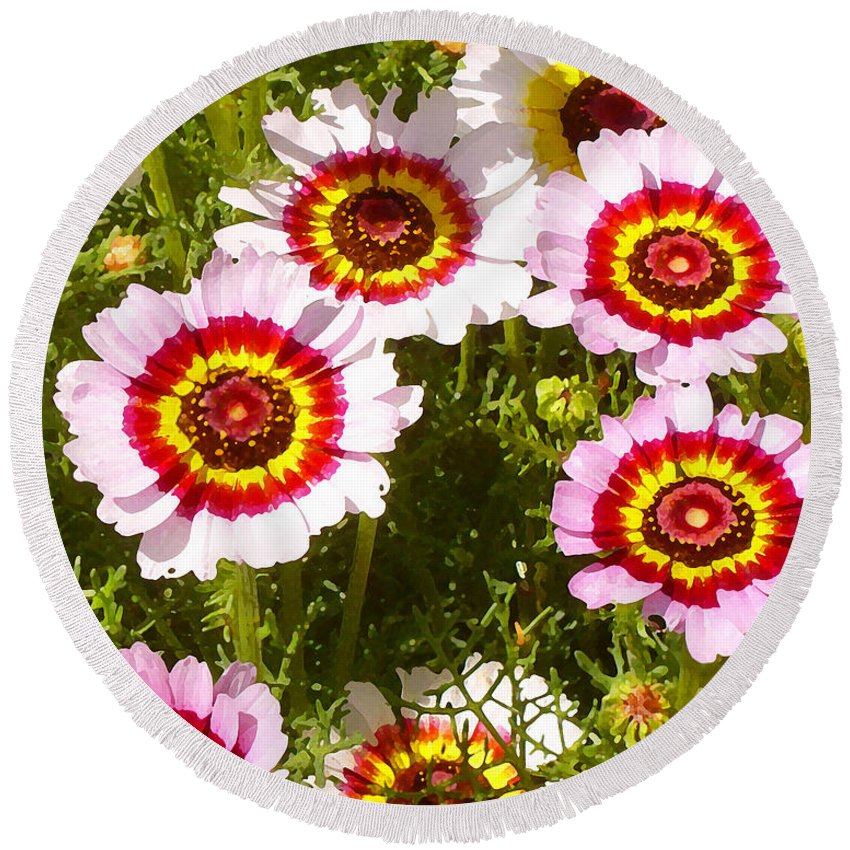 Wildflower Round Beach Towel featuring the painting Spring Wildflowers by Amy Vangsgard