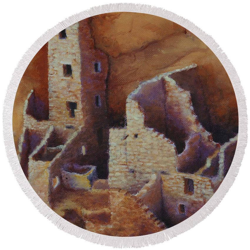 Anasazi Round Beach Towel featuring the painting Square Tower Ruins by Jerry McElroy