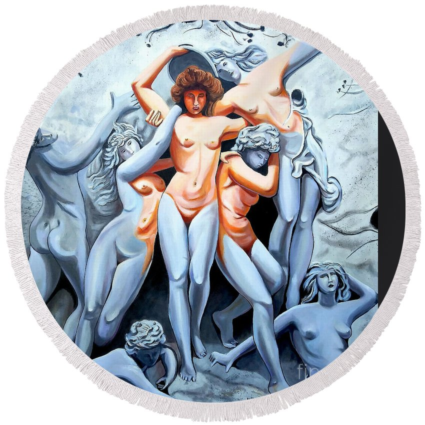 Statue Women Round Beach Towel featuring the painting Statue 3 by Jose Manuel Abraham