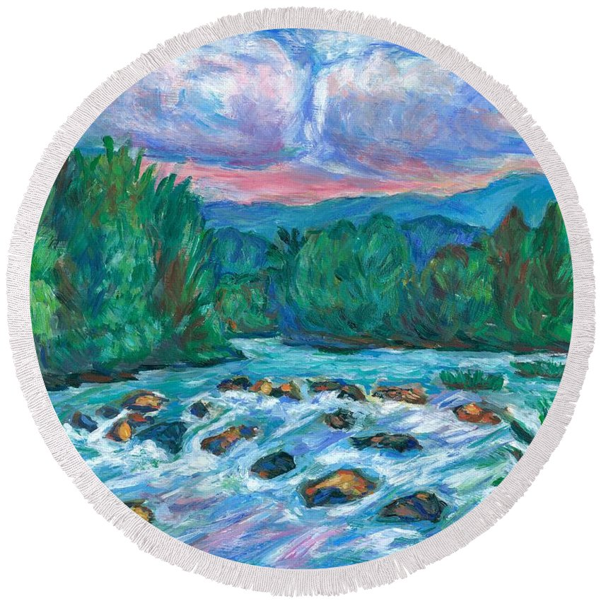 Landscape Round Beach Towel featuring the painting Stepping Stones on the New River by Kendall Kessler