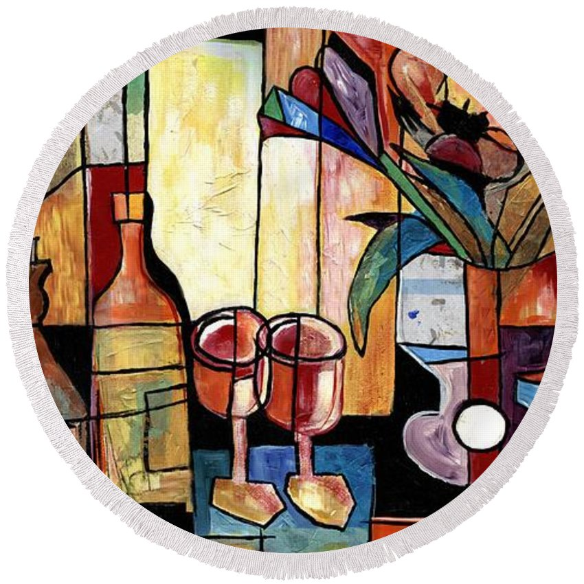 Everett Spruill Round Beach Towel featuring the painting Still Life with Wine and Flowers for two take 2 by Everett Spruill