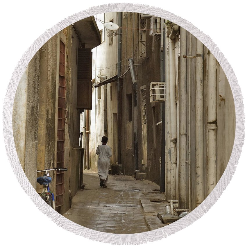 3scape Round Beach Towel featuring the photograph Stone Town by Adam Romanowicz