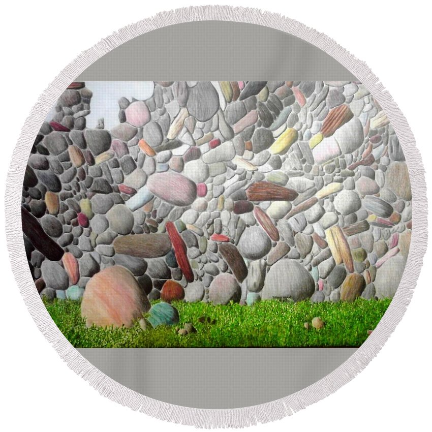Stones Round Beach Towel featuring the painting Stoned Wall by A Robert Malcom