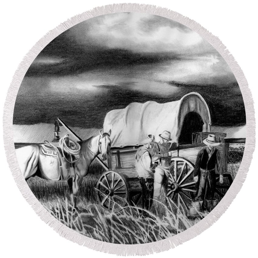 Storm A Brewing Round Beach Towel featuring the drawing Storm A Brewing by Peter Piatt