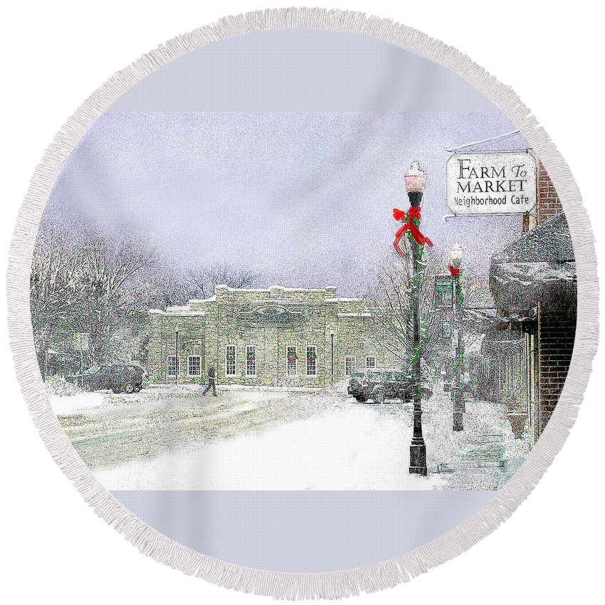 Snow Scene Round Beach Towel featuring the photograph Strang Car Barn in Winter by Steve Karol