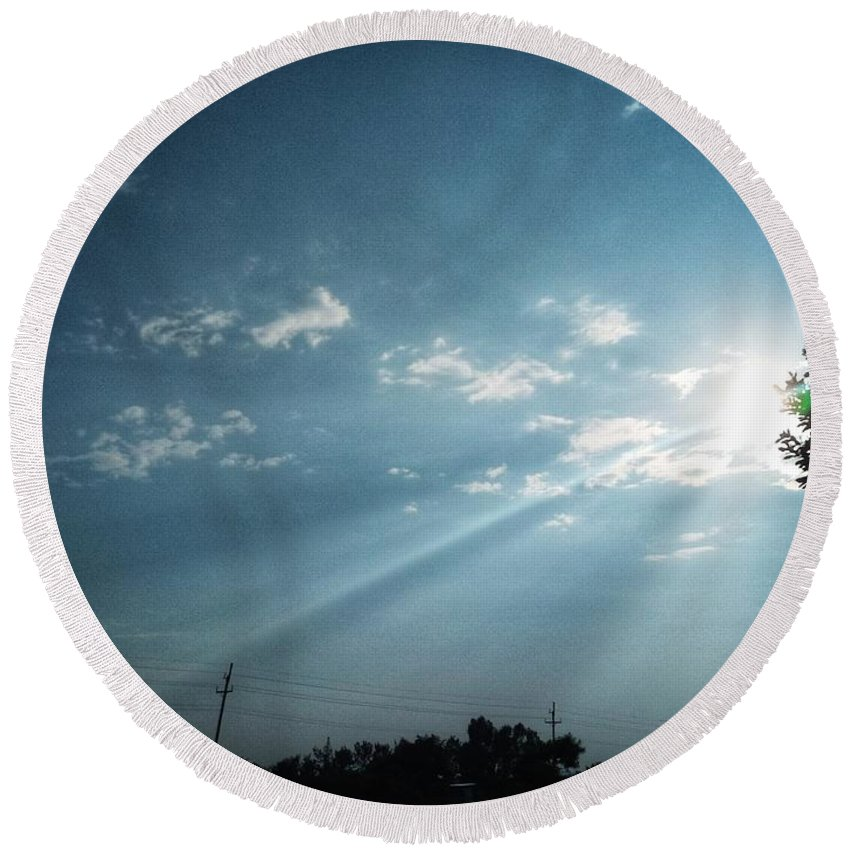 Sky Round Beach Towel featuring the photograph Striking rays by Yvonne's Ogolla