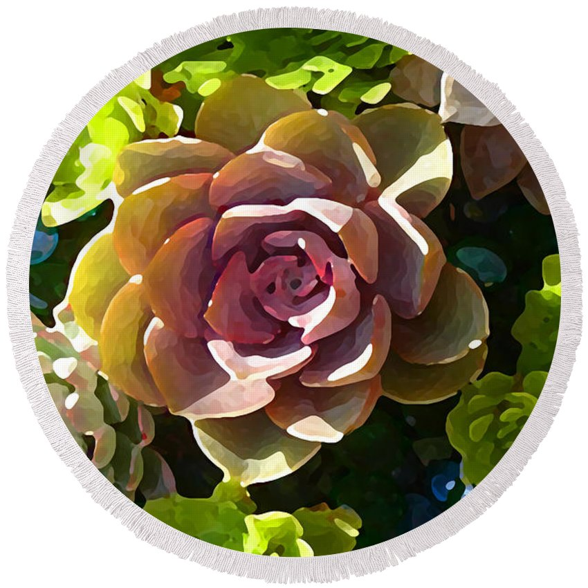 Succulent Round Beach Towel featuring the painting Succulent Pond 3 by Amy Vangsgard