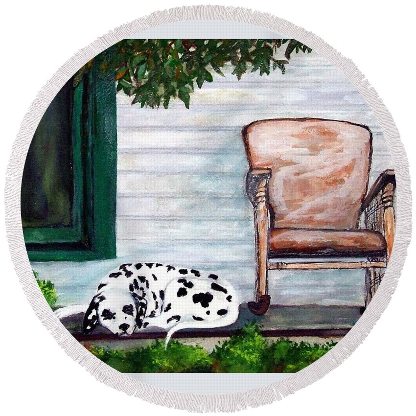 Dog Round Beach Towel featuring the painting Summer Evening by Jacki McGovern