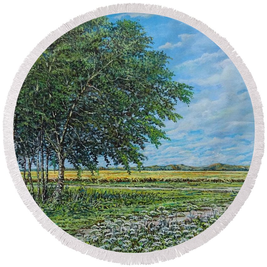 Landscape Round Beach Towel featuring the painting Summer Field by Sinisa Saratlic