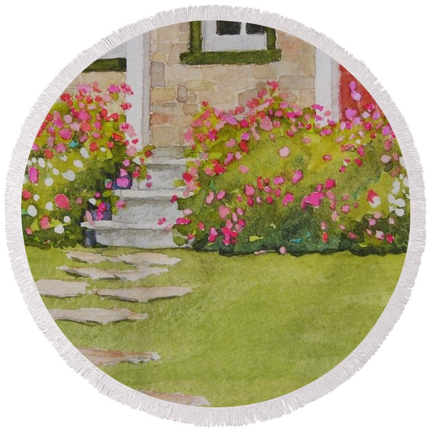 Garden Round Beach Towel featuring the painting Summer Glory by Mary Ellen Mueller Legault