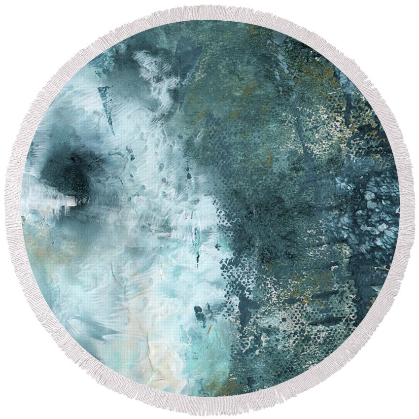 Abstract Round Beach Towel featuring the painting Summer Storm- Abstract Art by Linda Woods by Linda Woods