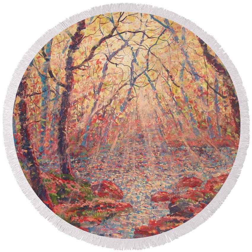 Painting Round Beach Towel featuring the painting Sun Rays Through The Trees. by Leonard Holland