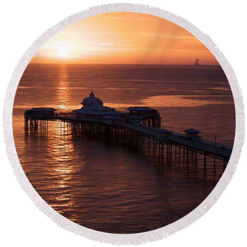 Piers Round Beach Towel featuring the photograph Sunrise over Llandudno pier 2 by Christopher Rowlands