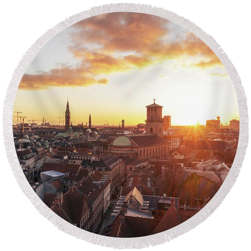 City Round Beach Towel featuring the photograph Sunset above Copenhagen by Hannes Roeckel