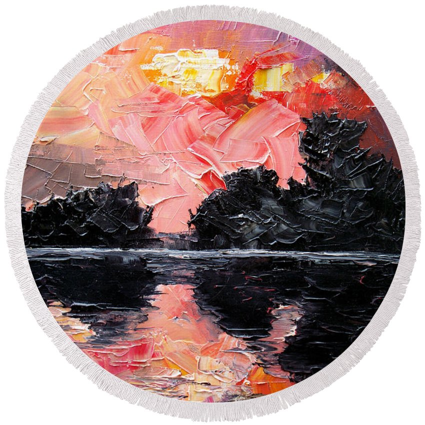Lake After Storm Round Beach Towel featuring the painting Sunset. After storm. by Sergey Bezhinets