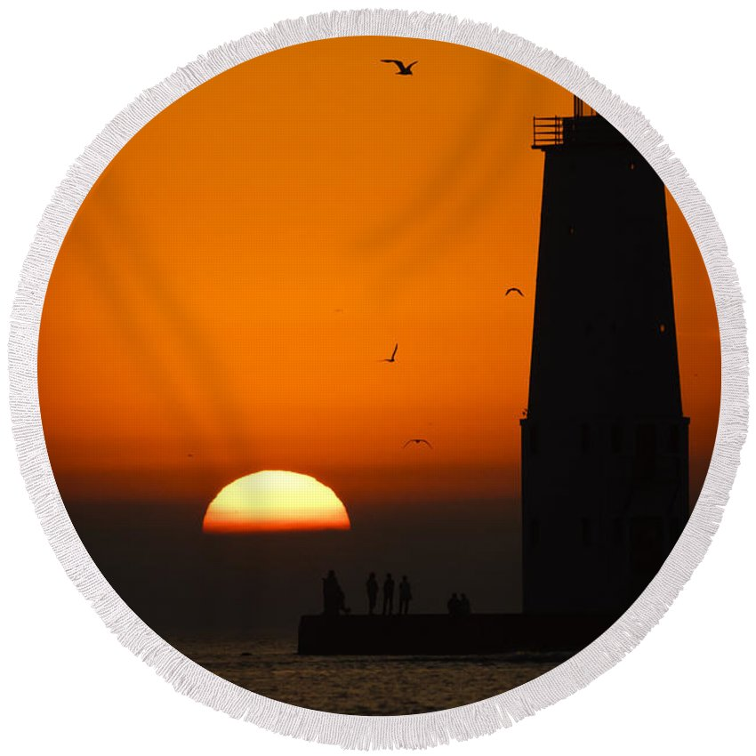 3scape Round Beach Towel featuring the photograph Sunset at Frankfort North Breakwater Lighthouse by Adam Romanowicz