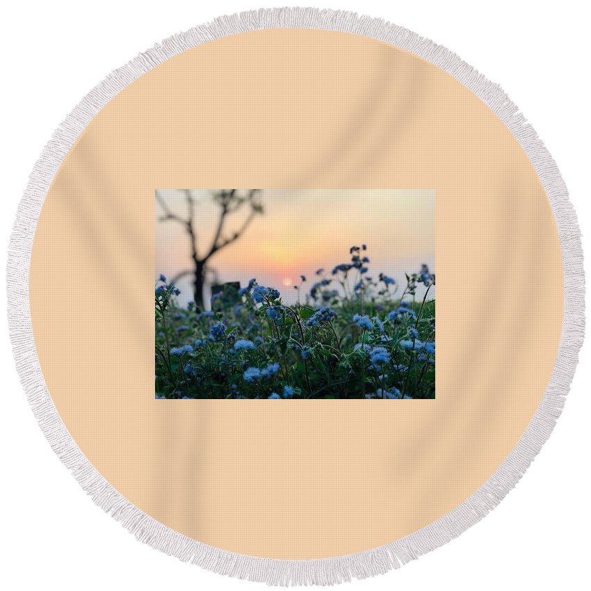 Flowers Round Beach Towel featuring the photograph Sunset Behind Flowers by Prashant Dalal