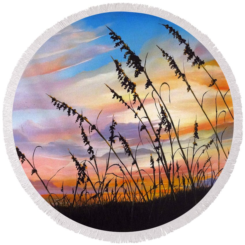 Ocean Painting Round Beach Towel featuring the painting Sunset Fort Desoto Beach by Karin Dawn Kelshall- Best