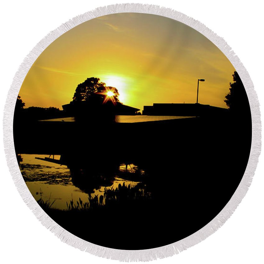 Landscape Round Beach Towel featuring the digital art Sunset over Building by Daniel Cornell