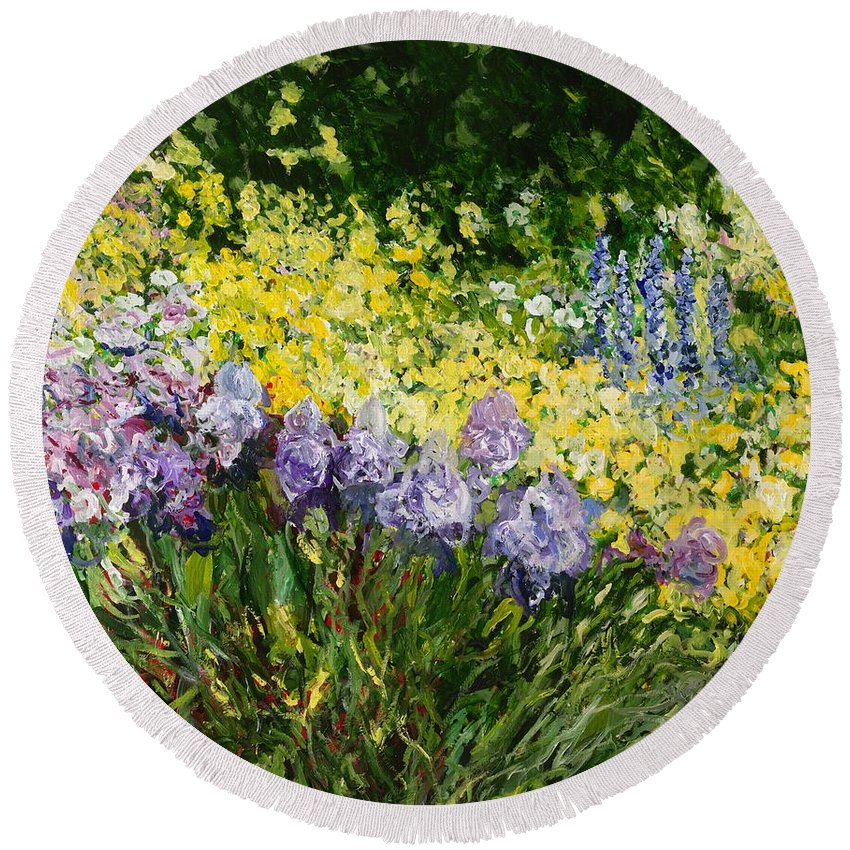 Landscape Round Beach Towel featuring the painting Sunshine Blossoms by Allan P Friedlander