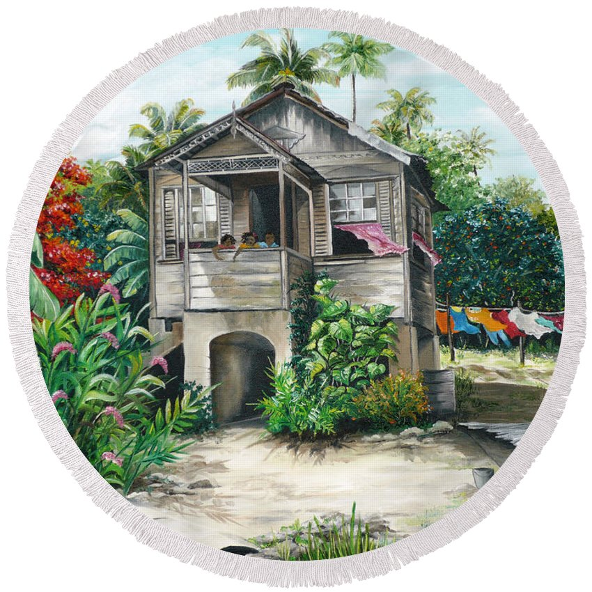 Landscape Painting Caribbean Painting House Painting Tobago Painting Trinidad Painting Tropical Painting Flamboyant Painting Banana Painting Trees Painting Original Painting Of Typical Country House In Trinidad And Tobago Round Beach Towel featuring the painting Sweet Island Life by Karin Dawn Kelshall- Best