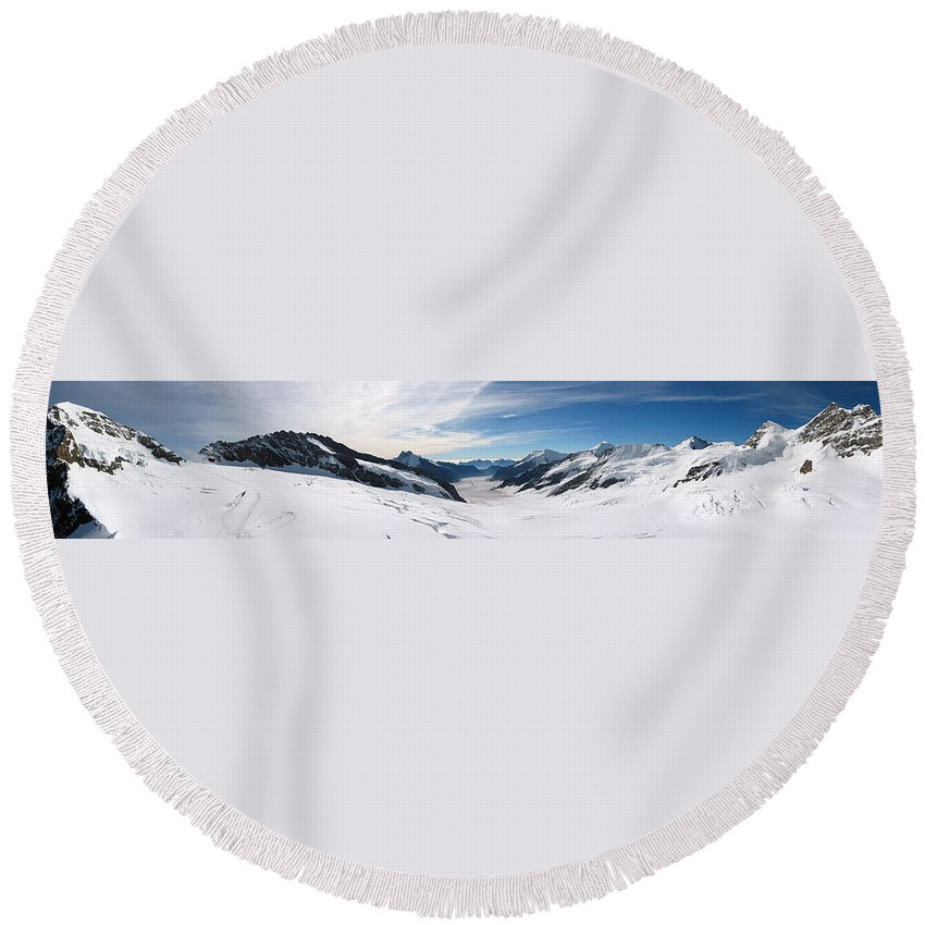 3scape Round Beach Towel featuring the photograph Swiss Alps by Adam Romanowicz