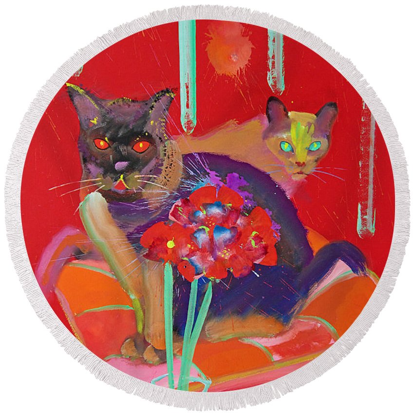 Burmese Cat Round Beach Towel featuring the painting Symphony In Red Two by Charles Stuart