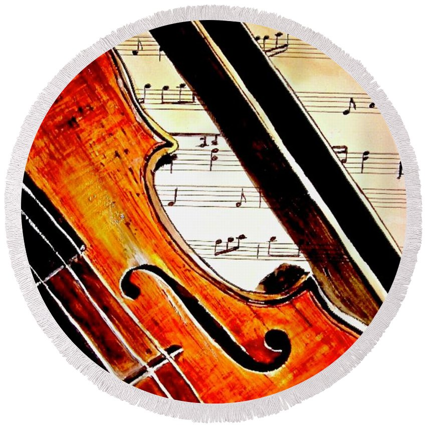 Violin Painting Round Beach Towel featuring the painting Take Note by Carol Blackhurst