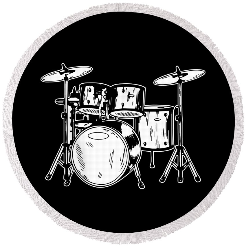 Drummer Round Beach Towel featuring the digital art Tempo Music Band Percussion Drum Set Drummer Gift by Haselshirt
