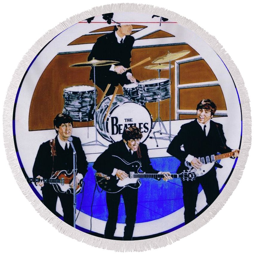 The Beatles Live Round Beach Towel featuring the drawing The Beatles - Live On The Ed Sullivan Show by Sean Connolly