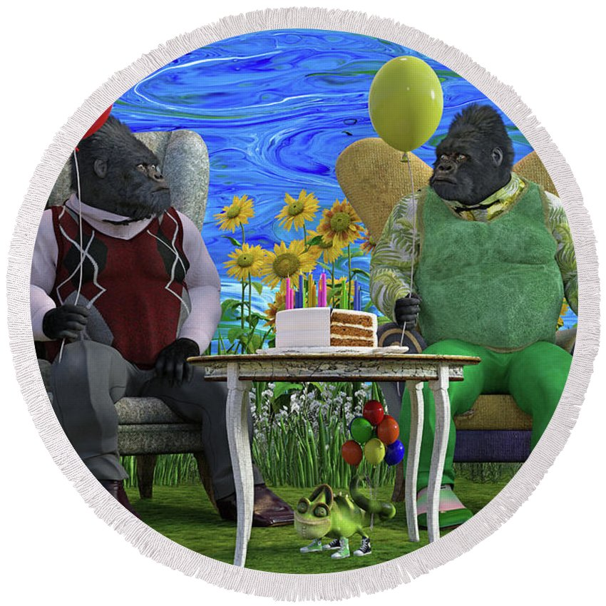 Gorilla Round Beach Towel featuring the digital art The Birthday Party by Betsy Knapp