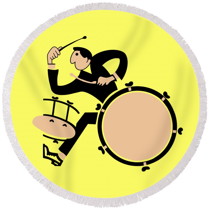 Drum Round Beach Towel featuring the photograph The Drummer by Mark Rogan