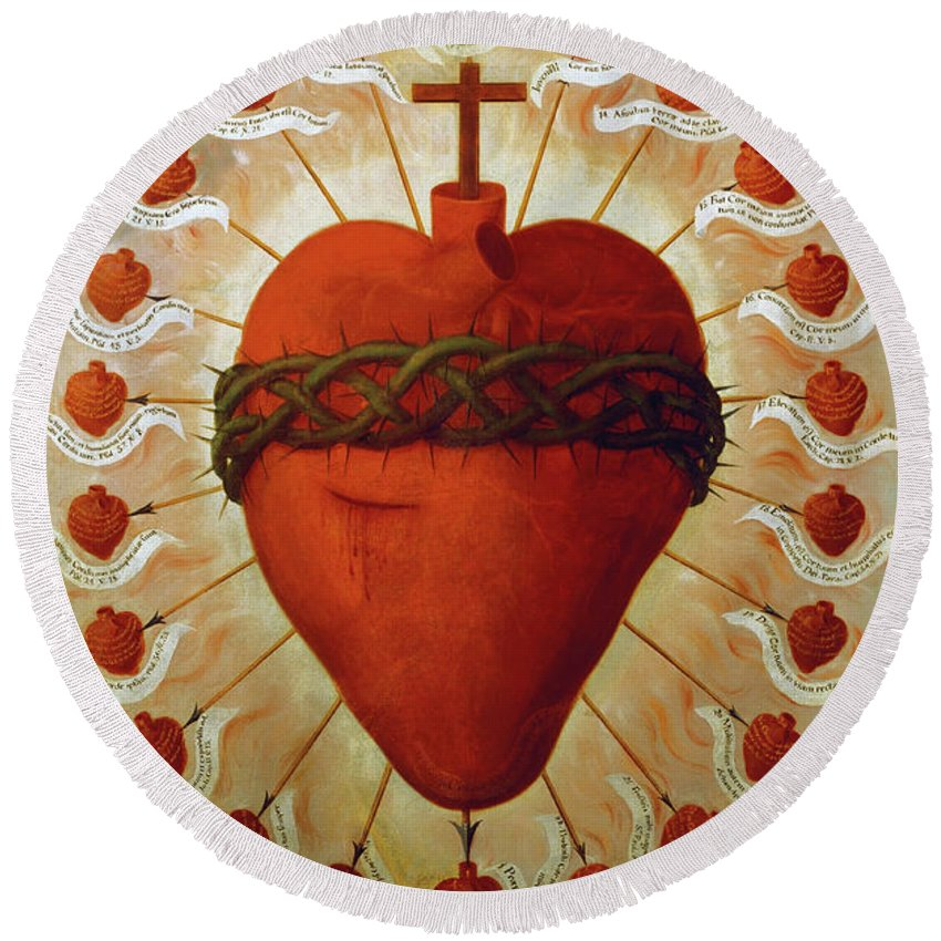 Feast Round Beach Towel featuring the painting The Feast Of The Sacred Heart Of Jesus, 1747 by Fray Miguel de Herrera