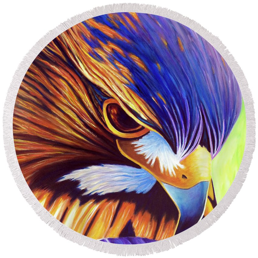 Hawk Round Beach Towel featuring the painting The Fire Within by Brian Commerford