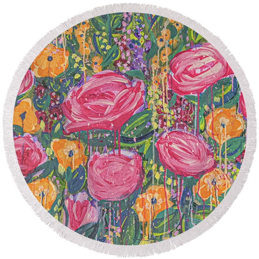 English Garden Round Beach Towel featuring the painting The Garden by Amanda Armstrong