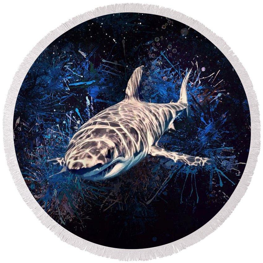 Shark Round Beach Towel featuring the digital art The Great White Shark by Scott Wallace Digital Designs