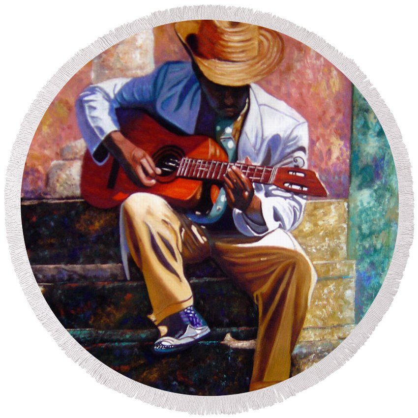 Cuban Art Round Beach Towel featuring the painting The Guitar Player by Jose Manuel Abraham
