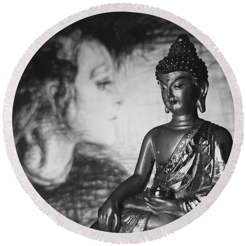 Buddha Round Beach Towel featuring the photograph The Healer by Barista Uno