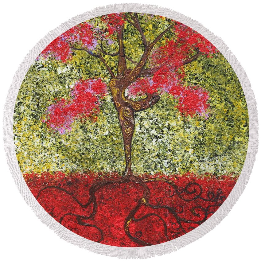 Dancer Round Beach Towel featuring the painting The Lady Tree Dancer by Stefan Duncan