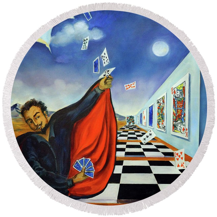 Surreal Landscape Round Beach Towel featuring the painting The Magician by Valerie Vescovi
