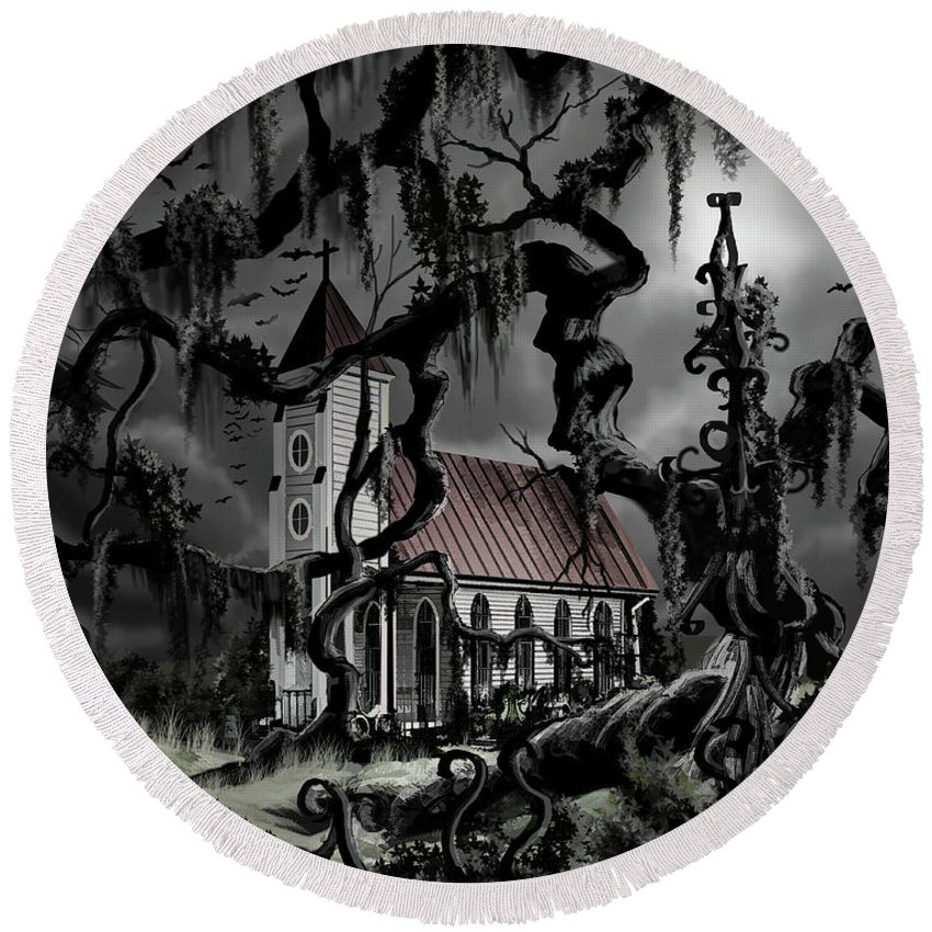 James Christopher Hill Round Beach Towel featuring the painting The Mortuary by James Christopher Hill