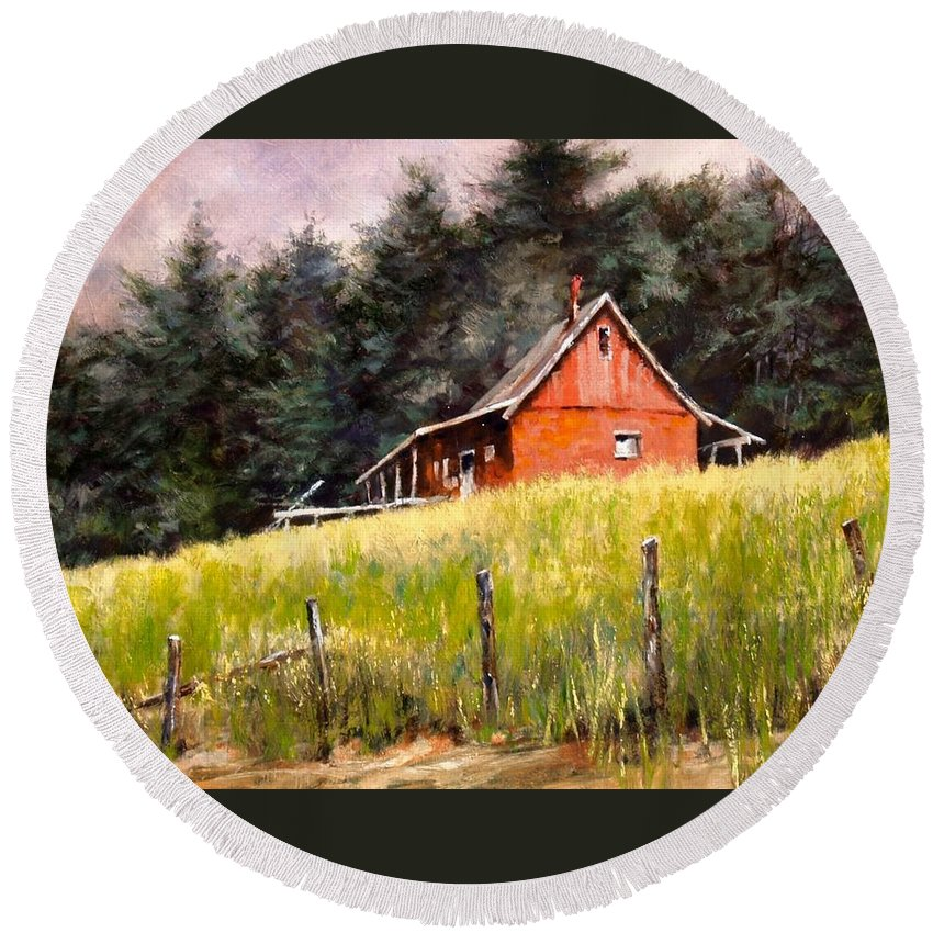 Landscape Round Beach Towel featuring the painting The Red Coach Stop by Jim Gola