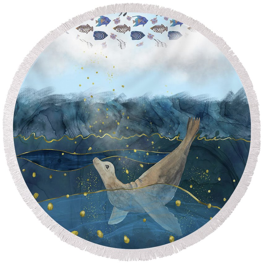 Global Warming Round Beach Towel featuring the digital art The Sea Lion's Dream - Climate Change Reality by Andreea Dumez
