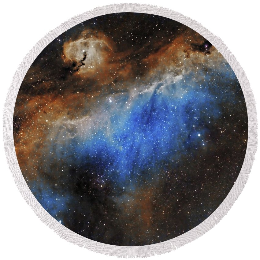 Astronomy Round Beach Towel featuring the photograph The Seagull Nebula by Prabhu Astrophotography