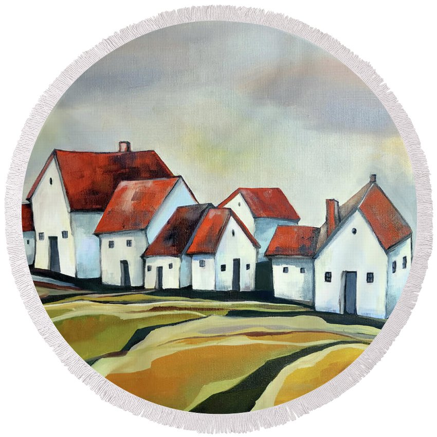 Village Round Beach Towel featuring the painting The smallest village by Aniko Hencz