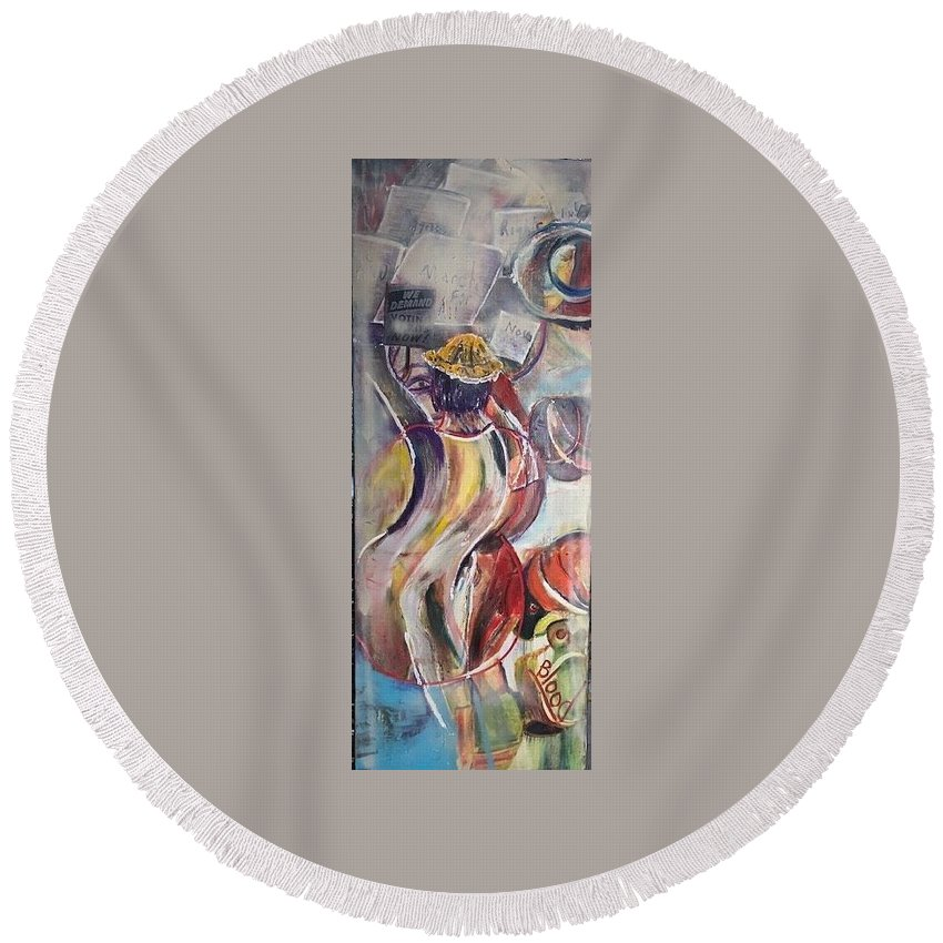 Demonstration Round Beach Towel featuring the painting The Time is Now by Peggy Blood
