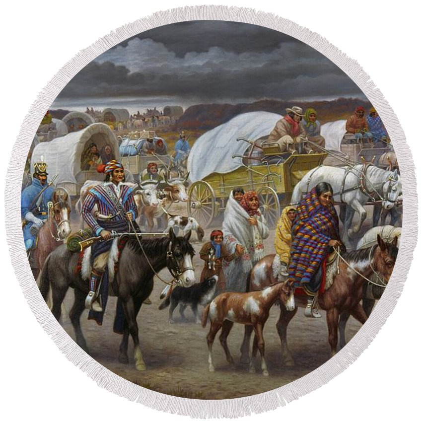 1838 Round Beach Towel featuring the painting The Trail Of Tears by Granger