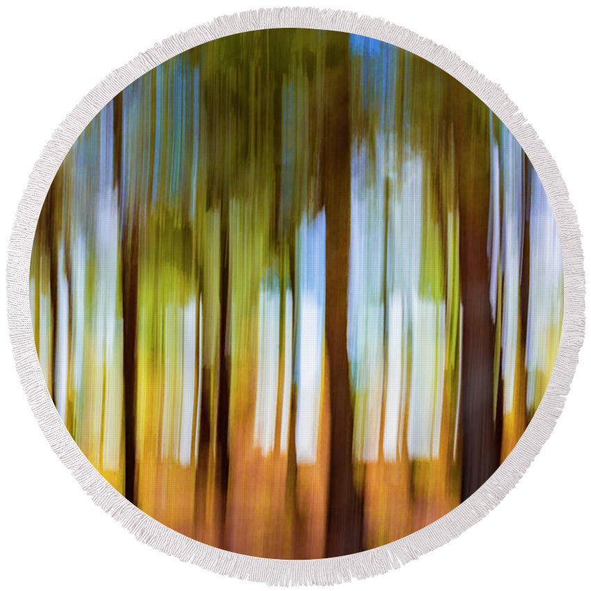 Colourful Round Beach Towel featuring the photograph The Unreal Forest by Vicente Sargues