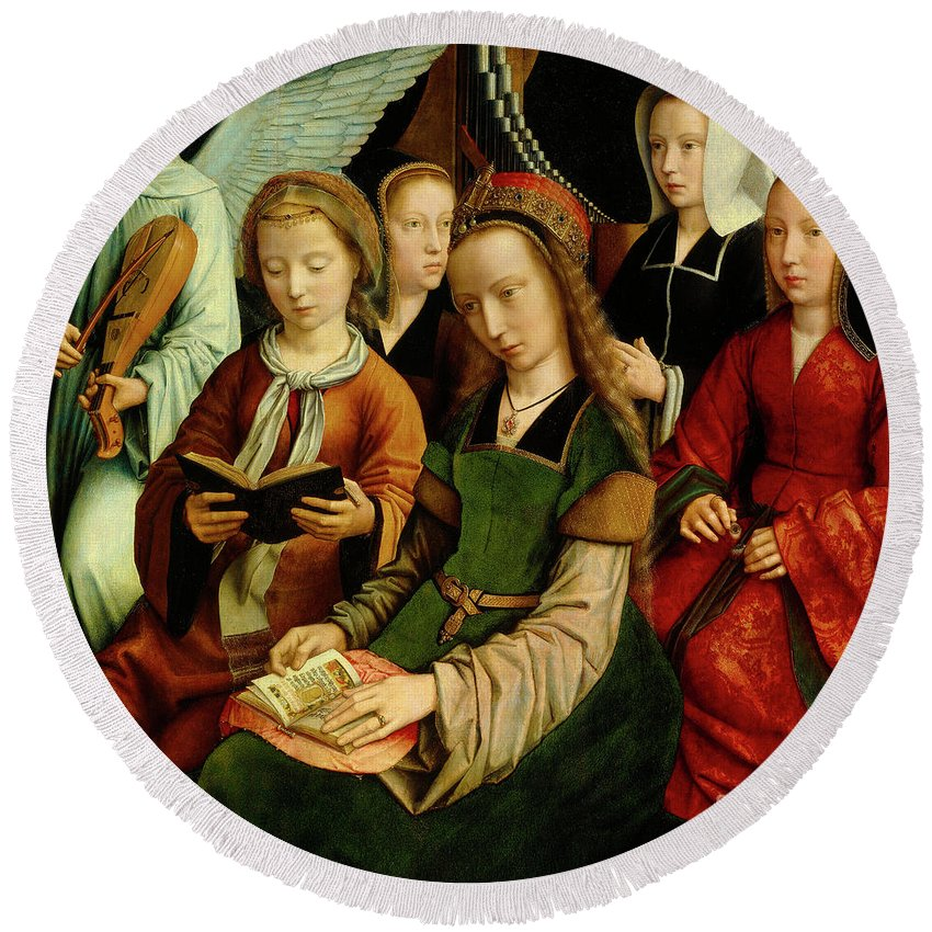 St Round Beach Towel featuring the painting The Virgin Among The Saints, Detail by Gerard David