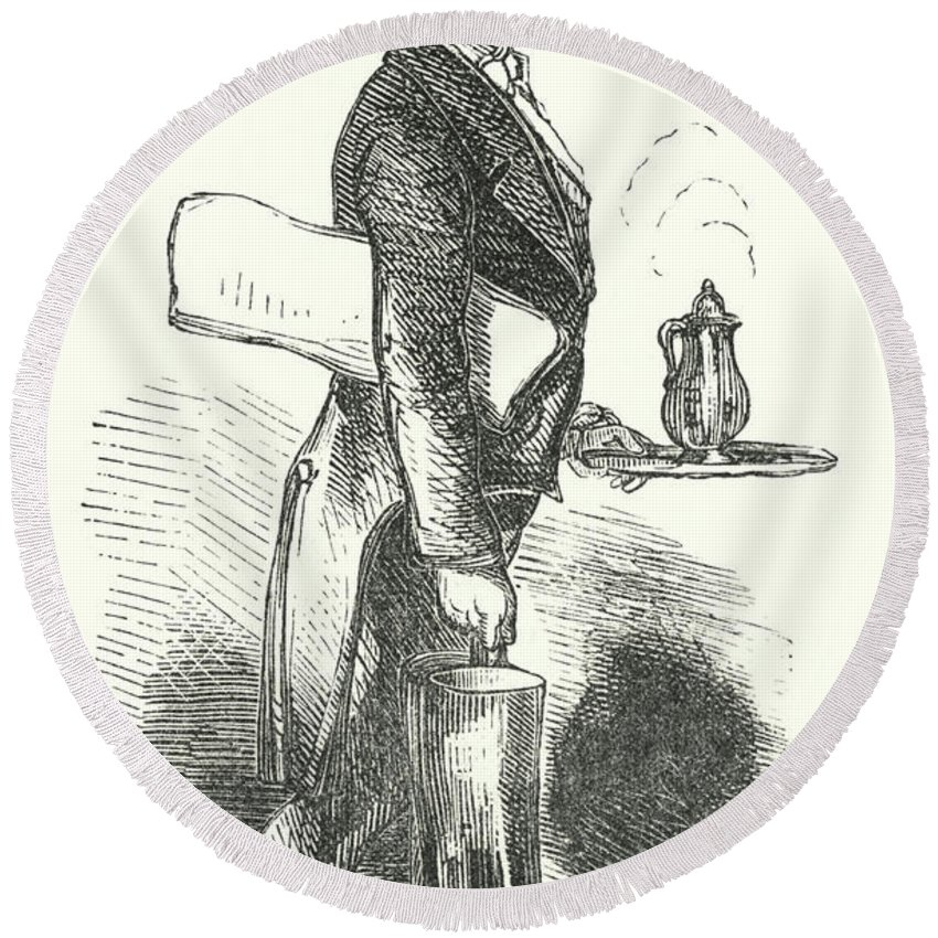 Waiter Round Beach Towel featuring the drawing The Waiter, Engraving by English School